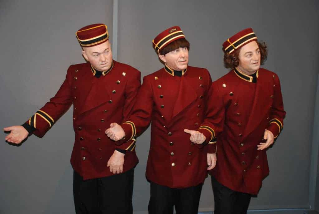 Statues of the famous trio inside the Stoogeum, the Three Stooges Museum