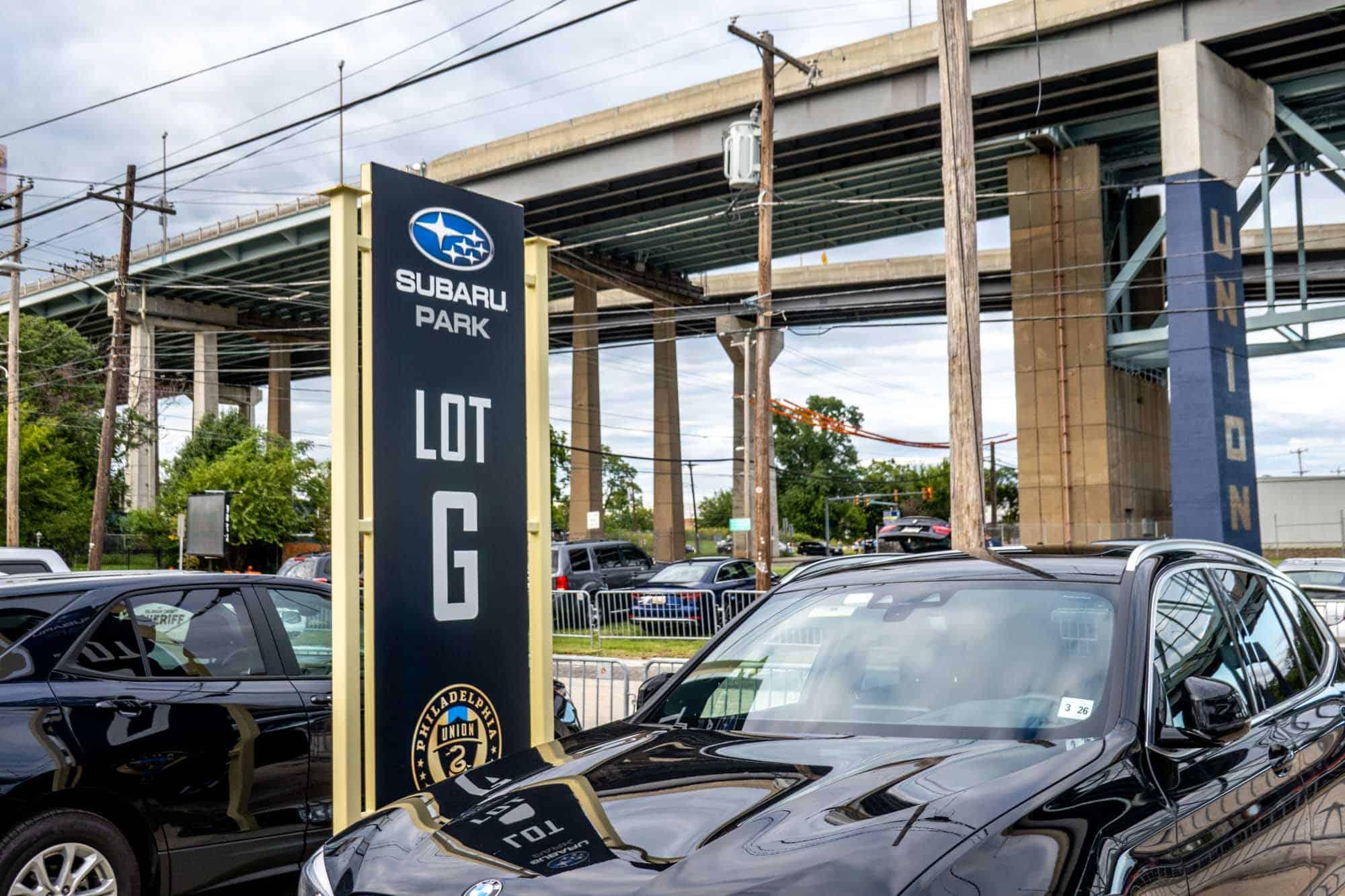 "Parking sign reading ""Subaru Park Lot G"""