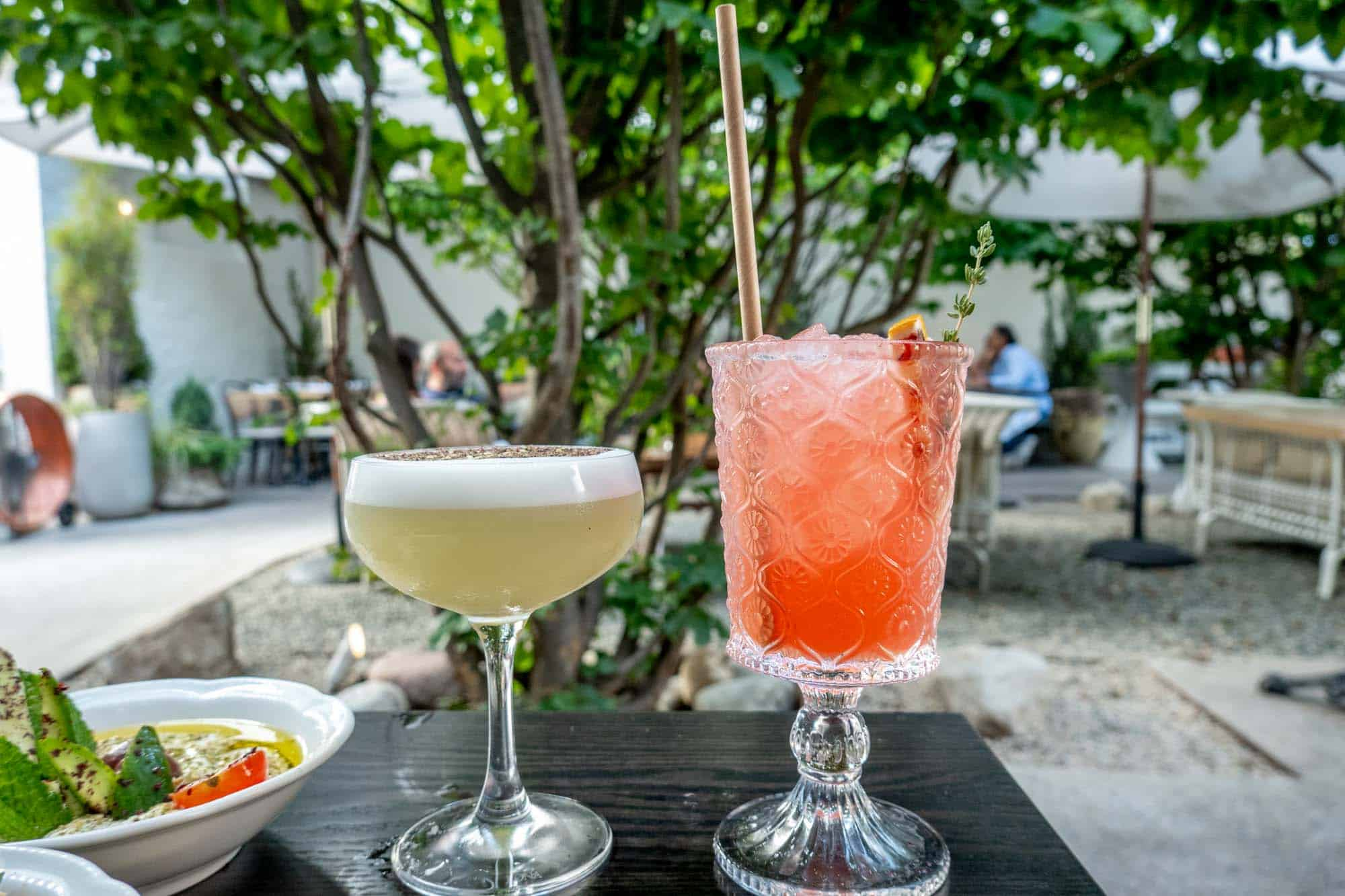 Cocktails on a table in a garden