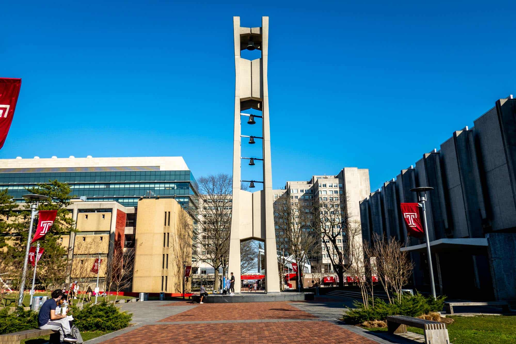 Bell tower and red  T flags
