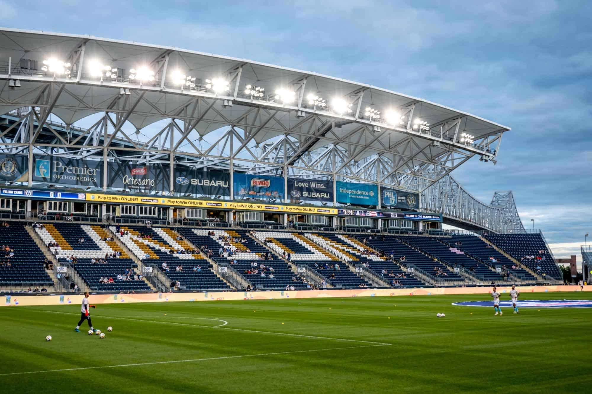 "Soccer stadium with seas reading ""Union"""