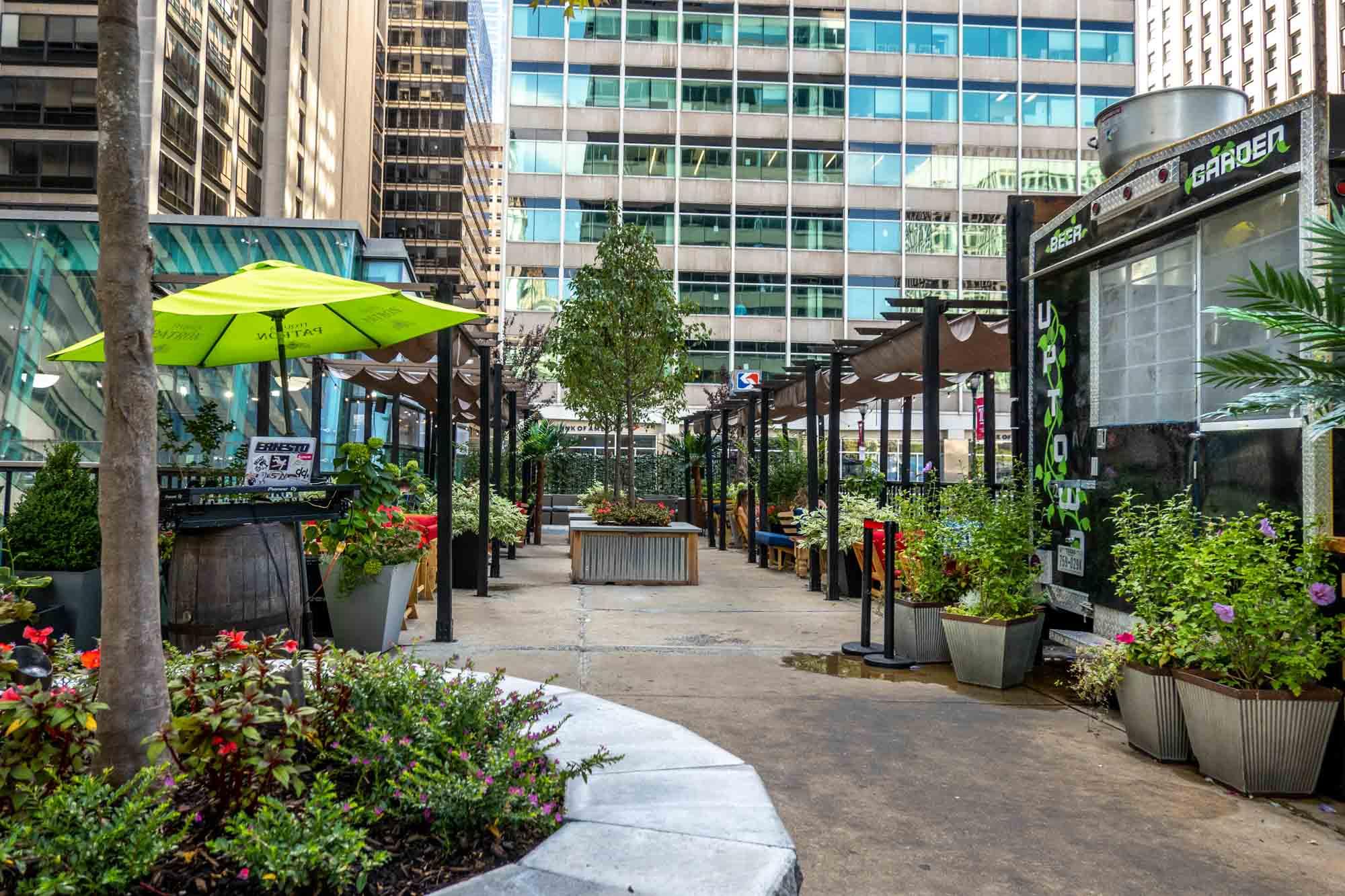 Outdoor pop up garden in a city