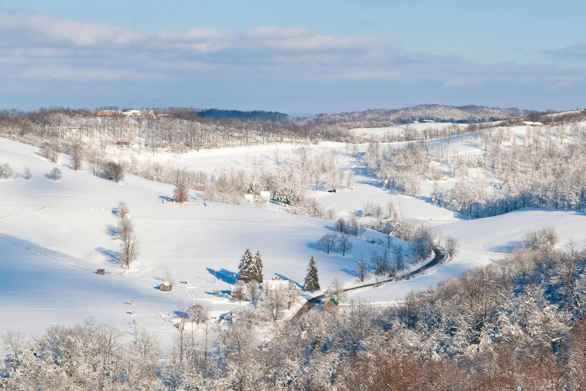 Snow on the mountains in Pennsylvania